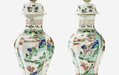 A pair of Chinese famille verte-decorated vases