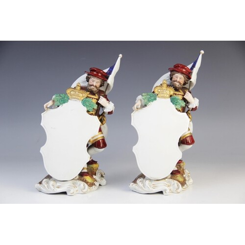 A pair of Dresden porcelain menu plaques, early 20th century...