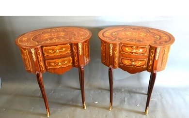 A pair of French style Marquetry inlaid and gilt metal mount...