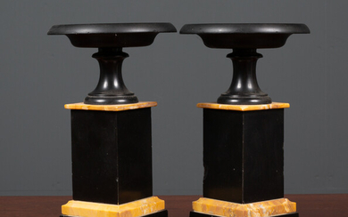 A pair of Victorian turned black slate and marble tazza...