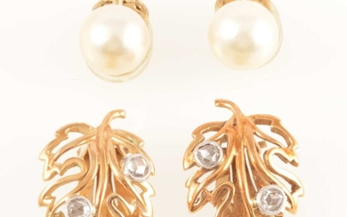 A pair of diamond clip-on earrings and pearl studs.