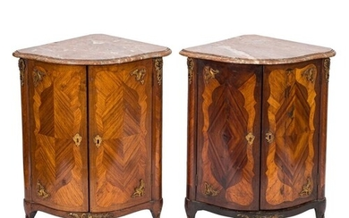 A pair of late 18th century French kingwood and gilt metal m...
