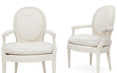 NOT SOLD. A pair of painted French Louis XVI armchairs. Late 18th century. (2). – Bruun Rasmussen Auctioneers of Fine Art