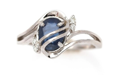 A sapphire and diamond ring set with a sapphire and four diamonds, mounted in 14k white gold. Size 53. – Bruun Rasmussen Auctioneers of Fine Art
