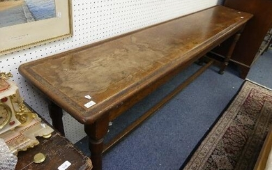 A vintage oak long Side / Console Table, the rectangular top...