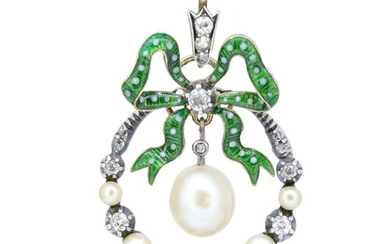 ANTIQUE VICTORIAN DIAMOND, PEARL AND ENAMEL PENDANT, the dia...
