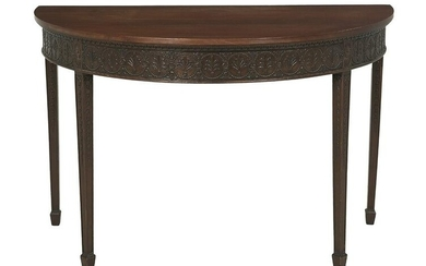 Adam-Style Carved Mahogany Console Table