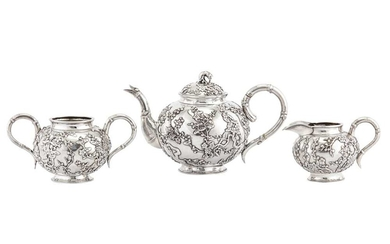 An early 20th century Chinese export silver three-piece tea service, Shanghai circa 1910 retailed by Luen Hing