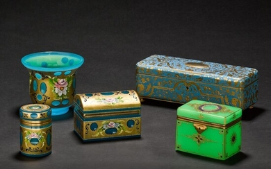 An enamelled gilt-metal rectangular casket, three glass boxes and a vase, 20th century