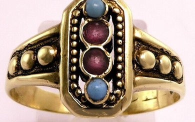 Antique Victorian Edwardian Hallmarked - 18 kt. Gold - Ring Rubies - Turquoises