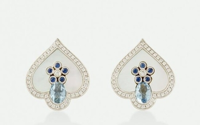 Aquamarine, sapphire, and mother-of-pearl earrings