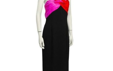 Bill Blass Black Gown with Red & Pink Details
