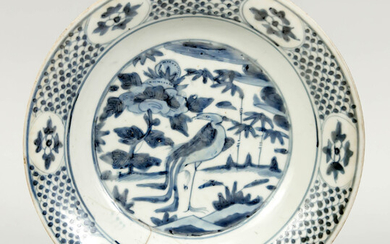 Blue and white (Swatow) plate with crane, China,...