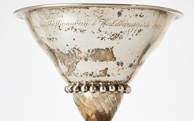 Bowl with foot, silver, indistinct master stamp, Norrköping 1919.
