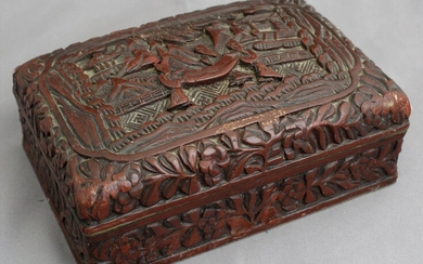 Chinese Qing Qianlong Marked Cinnabar Lacquered Wood Box AFR3SH