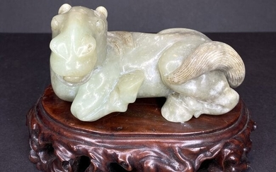 Chinese jade horse on wood stand
