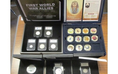 Collection in presentation cases with certificates with Firs...