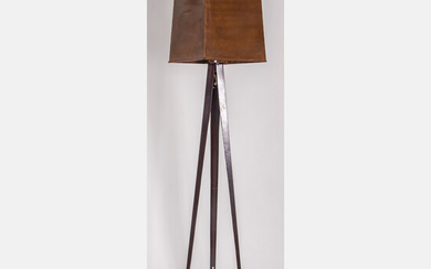 Contemporary Metal and Copper Floor Lamp