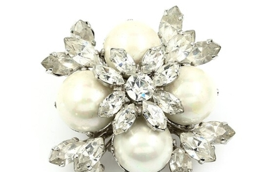 DIOR brooch with rhinestones , 1960, signed with...