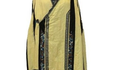 Early 20th Century Chinese Yellow Silk Brocade Cape with black...