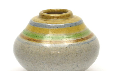 Earthenware vase with colored horizontal bands, executed by Potterie Kennemerland,...