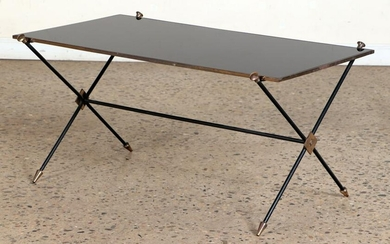 FRENCH DIRECTOIRE STYLE IRON BRASS COFFEE TABLE