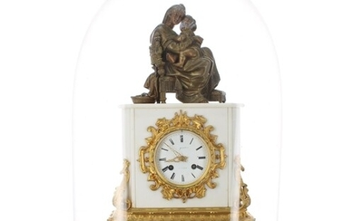 French gilt metal and white marble two train mantel clock, t...