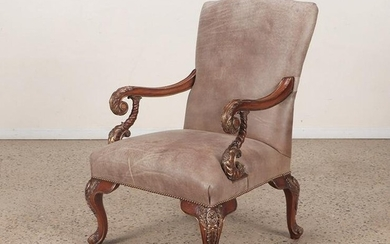 GILT CARVED REGENCY STYLE LIBRARY CHAIR