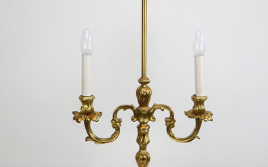 GOLD PLATED TWO ARMED CANDLESTICK.