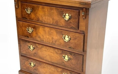 George III style burr walnut bachelors chest, moulded hinged...