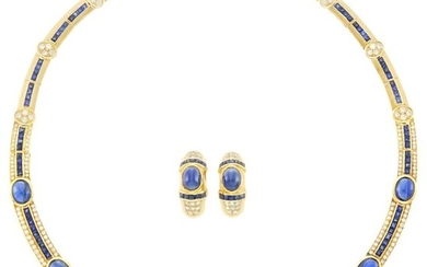 Gold, Sapphire and Diamond Necklace and Pair of Bombé Earrings