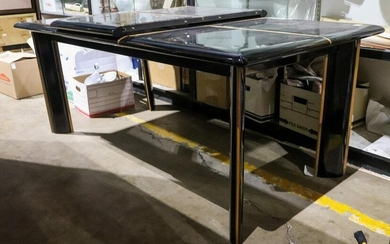 Italian black laquered dining table, with an additional