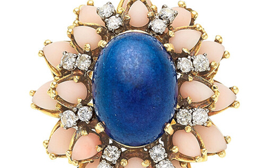 Lapis Lazuli, Coral, Diamond, Gold Ring The ring features...
