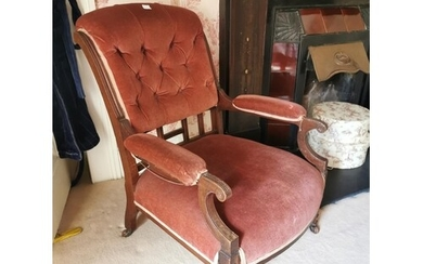 Late 19th. Upholstered mahogany ladies open armchair. { 92cm...