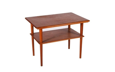 MCM TEAK TWO-TIERED END TABLE