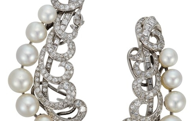 CULTURED PEARL AND DIAMOND CLIMBER EARRINGS