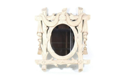 Neoclassical Faux Bois Wood & Faux Fabric Wall Mirror