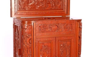 (-), Oriental bar furniture with richly carved decor,...