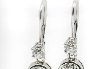 PLATINUM & 14K DIAMOND LEVERBACK EARRINGS