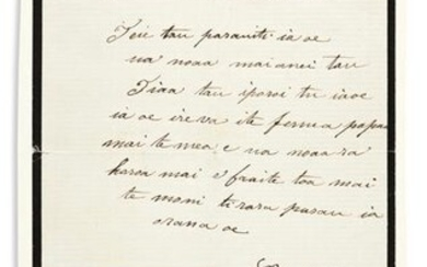 """POMARE IV; QUEEN OF TAHITI. Letter Signed, """"Pomare,"""" to"""