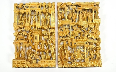 Pair of Carved Wood Chinese Relief Wall Hangings, Gold