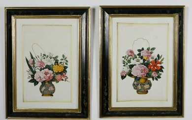 Pair of China Trade Floral Watercolors on Pith Paper