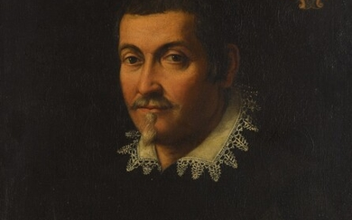 Roman School, 17th Century, Portrait of a gentleman, bust length, in black with a white collar