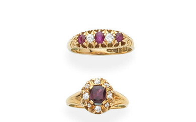 RUBY AND DIAMOND-SET FIVE STONE RING, 1904 AND GARNET AND DIAMOND CLUSTER RING