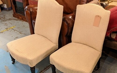 SIDE CHAIRS, 54cm W, a pair, Napoleon III ebonised in patter...