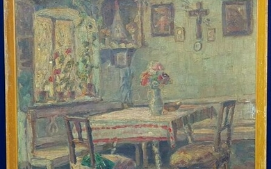 STILL LIFE PAINTING OF A ROOM WITH A TABLE AND CHAIRS