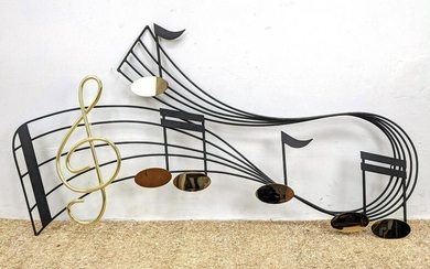 Signed J Wares Mixed Metal Musical Wall Sculpture. Blac