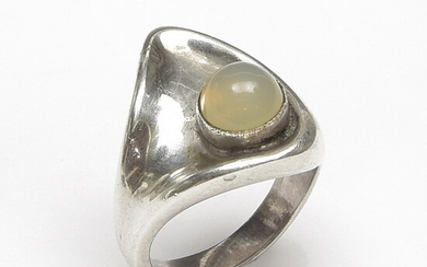 Silver ring with cabochon cut moonstone, design & execution Aage...