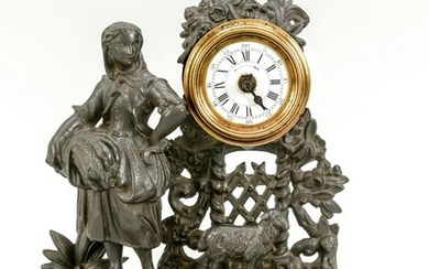 Table clock bronzed white cast iron