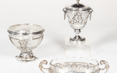 Three French Silver and Glass Service Dishes